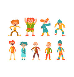 flat set evil clowns scary men in vector image