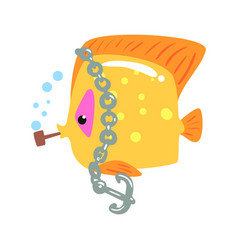 funny cartoon yellow tang fish with anchor chain vector image