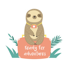 Funny sloth in jungles sitting on suitcase vector