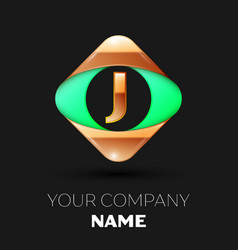 golden letter j logo in the golden-green square vector image