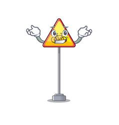 Grinning no cycling character shaped a mascot vector
