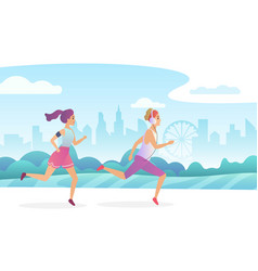 happy couple running in city public park vector image