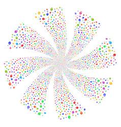 Heart lock fireworks swirl rotation vector