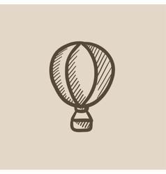 Hot air balloon sketch icon vector