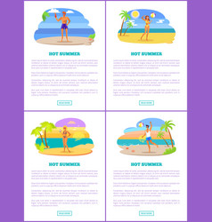 hot summer on exotic beach promotional posters set vector image