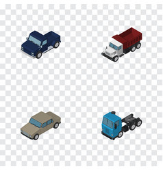 isometric transport set of auto freight suv and vector image