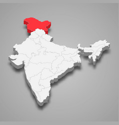 Jammu and kashmir state location within india 3d vector