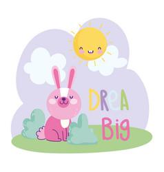little rabbit sitting grass sun clouds cartoon vector image