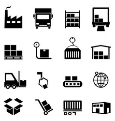 logistics distribution and warehouse icons vector image