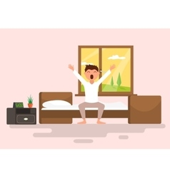 Man wakes up early in the morning vector