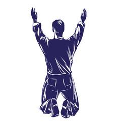 Man worships god symbol christianity hand drawn vector