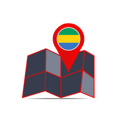 Map gabon is isolated with a country flag vector