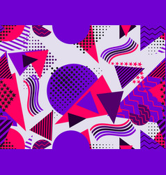 Memphis seamless pattern with geometric figures vector