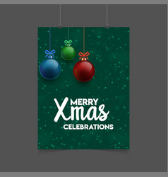 merry xmas celebration christams balls background vector image