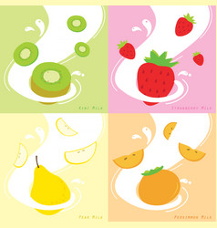 Milk flavor kiwi strawberry persimmon pear vector