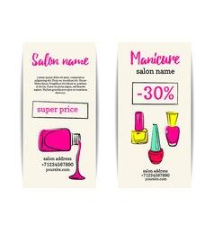 Nail polish colorful coupon flyer set vector image