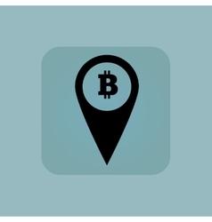 Pale blue bitcoin pointer icon vector