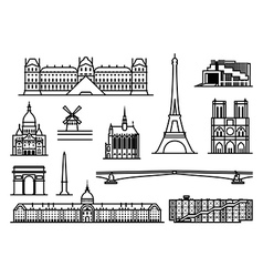 Paris monuments vector image