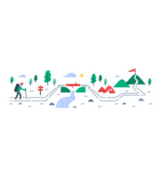 person trail walking mountain ascent vector image