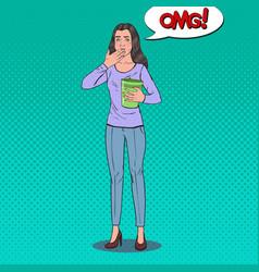 pop art sick woman throw up unhealthy feeling vector image