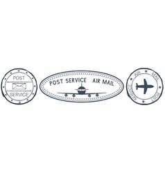 Postmarks post service signs with plane vector