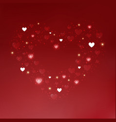 red and white hearts of valentines day in vector image