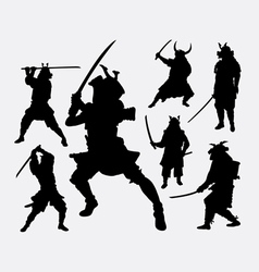 Samurai Japanese warrior silhouette vector
