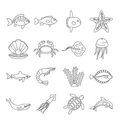 Sea animals icons set otline style vector