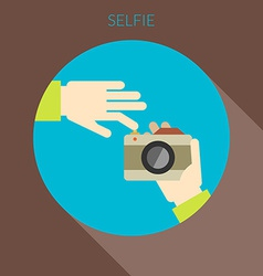 Selfie concept Hand of person taking photo using vector