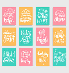 set of bakery hand lettering tags vector image