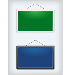 set two sign boards hanging on a nail vector image