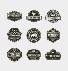 set vintage steak house logos vector image