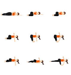 Spinal twist and resting yoga asanas set vector