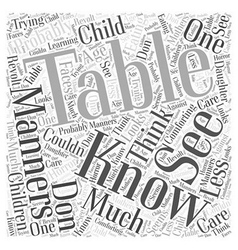 table manners Word Cloud Concept vector image