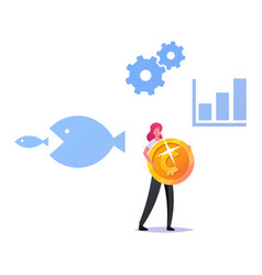 Tiny female character carry huge golden coin vector