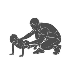 trainer helps a young boy do push-ups from the vector image