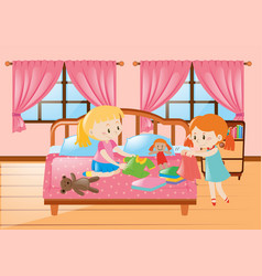 two girls in the bedroom vector image