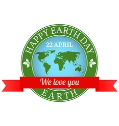 We love you earth badge label logo rubber stamp vector