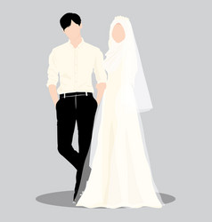 Wedding couple muslim vector