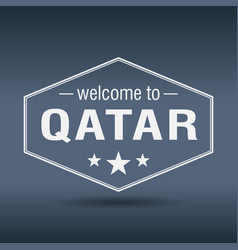 Welcome to qatar hexagonal white vintage label vector