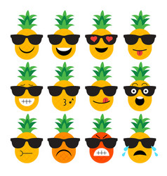 emojis pineapple fruit summer set of emotional vector image