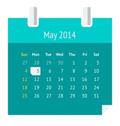 Flat calendar page for May 2014 vector image vector image