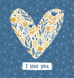 Floral heart love card vector image vector image