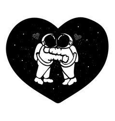 Hand drawn astronaut couple hugging in the space w vector