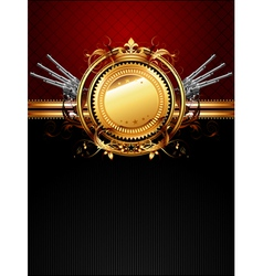 ornate frame with guns vector image vector image