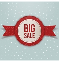 Realistic Christmas big Sale red Label with Ribbon vector image vector image