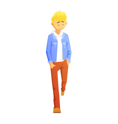 sad guy in brown pants and jean jacket young vector image