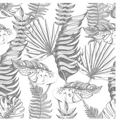 seamless pattern with graphic tropical leaves vector image