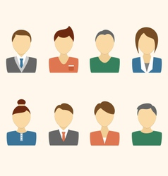 Set of business avatar office employees on beige vector image vector image