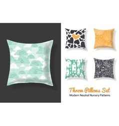 Set Of Throw Pillows With Matching Unique Neutral vector image